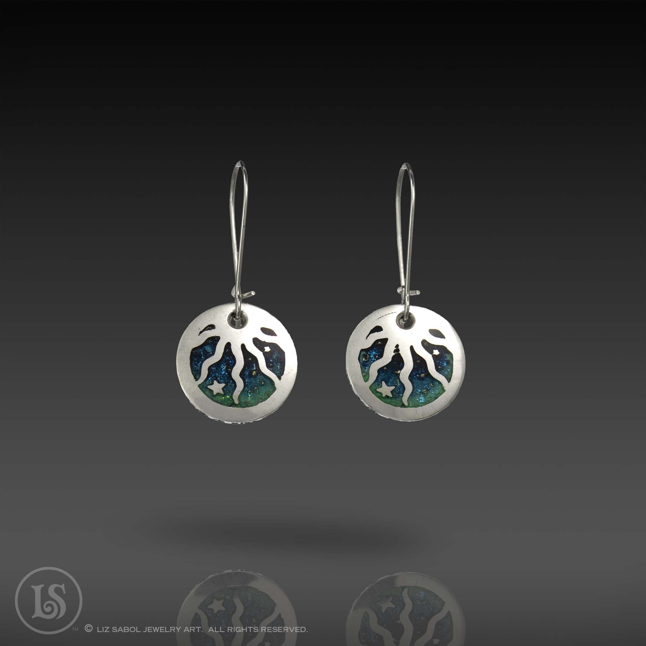Celestial  Earrings, 960 Sterling Silver