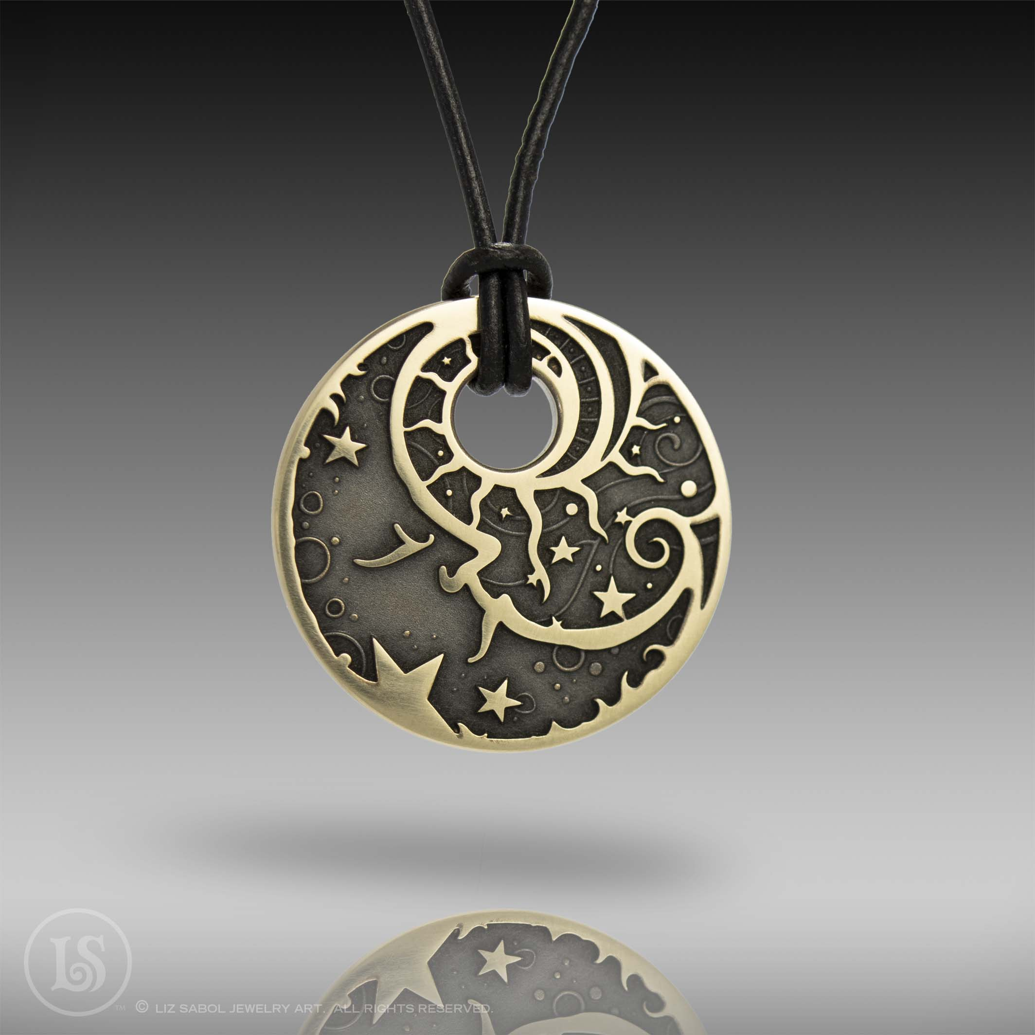 Man in the Moon Pendant, Brass