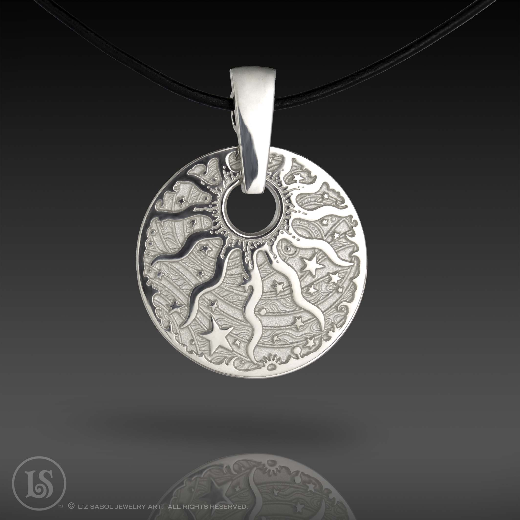 Celestial Sun Pendant, Sterling White with Bail