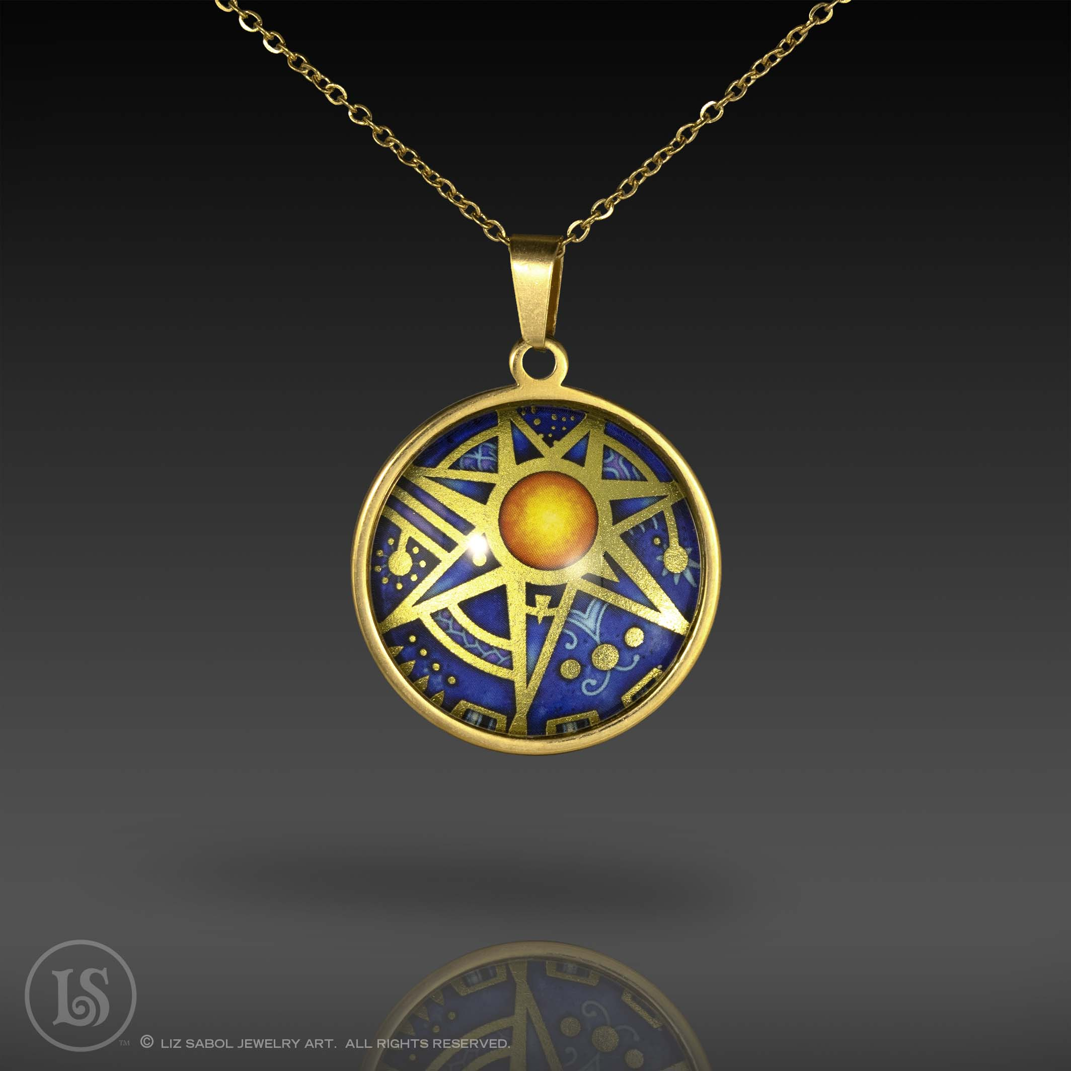 Star Fire Midnight Pendant, Glass, Gold-plated Stainless Steel