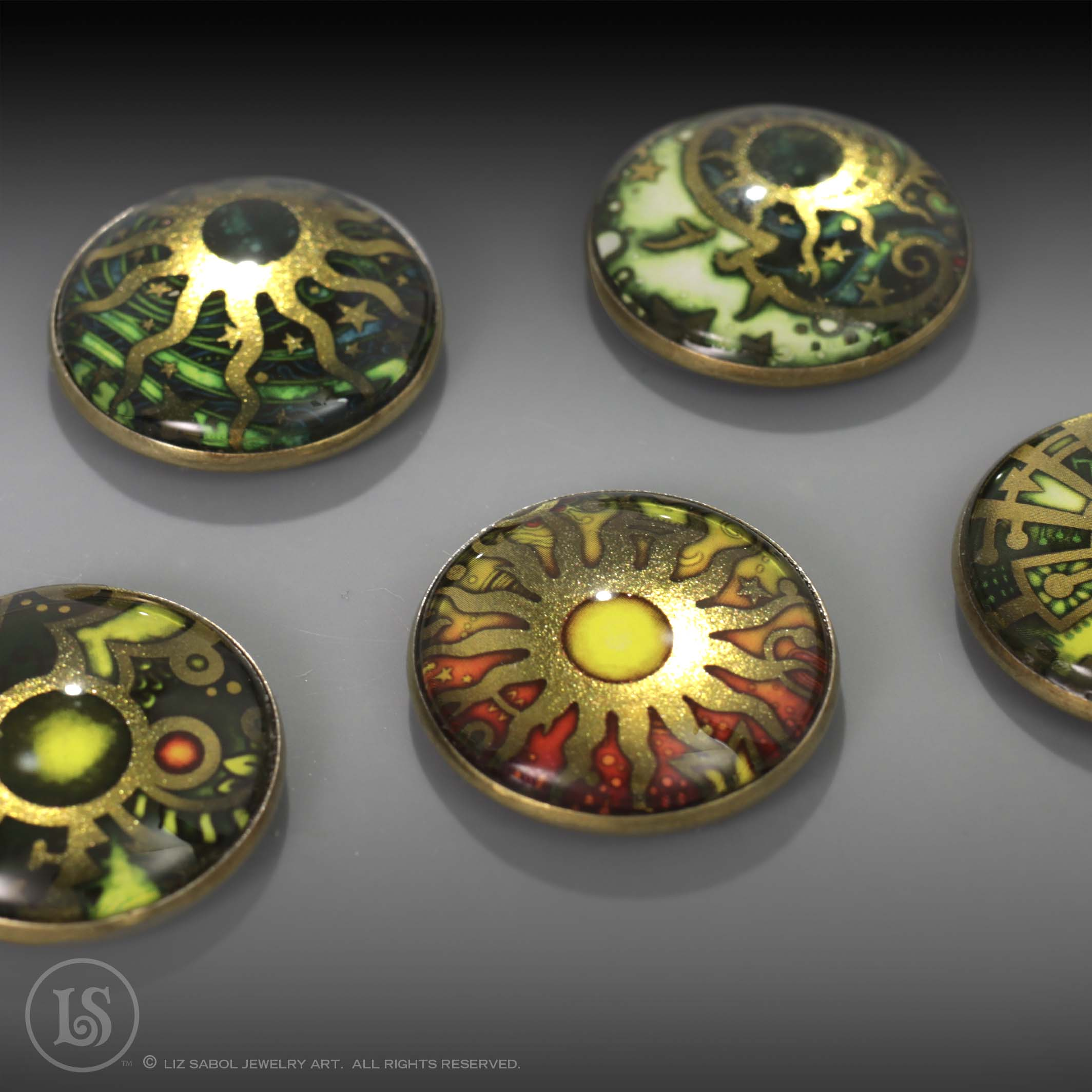 Celestial Magnets Antique Gold Tone Magnets, Glass, Alloy