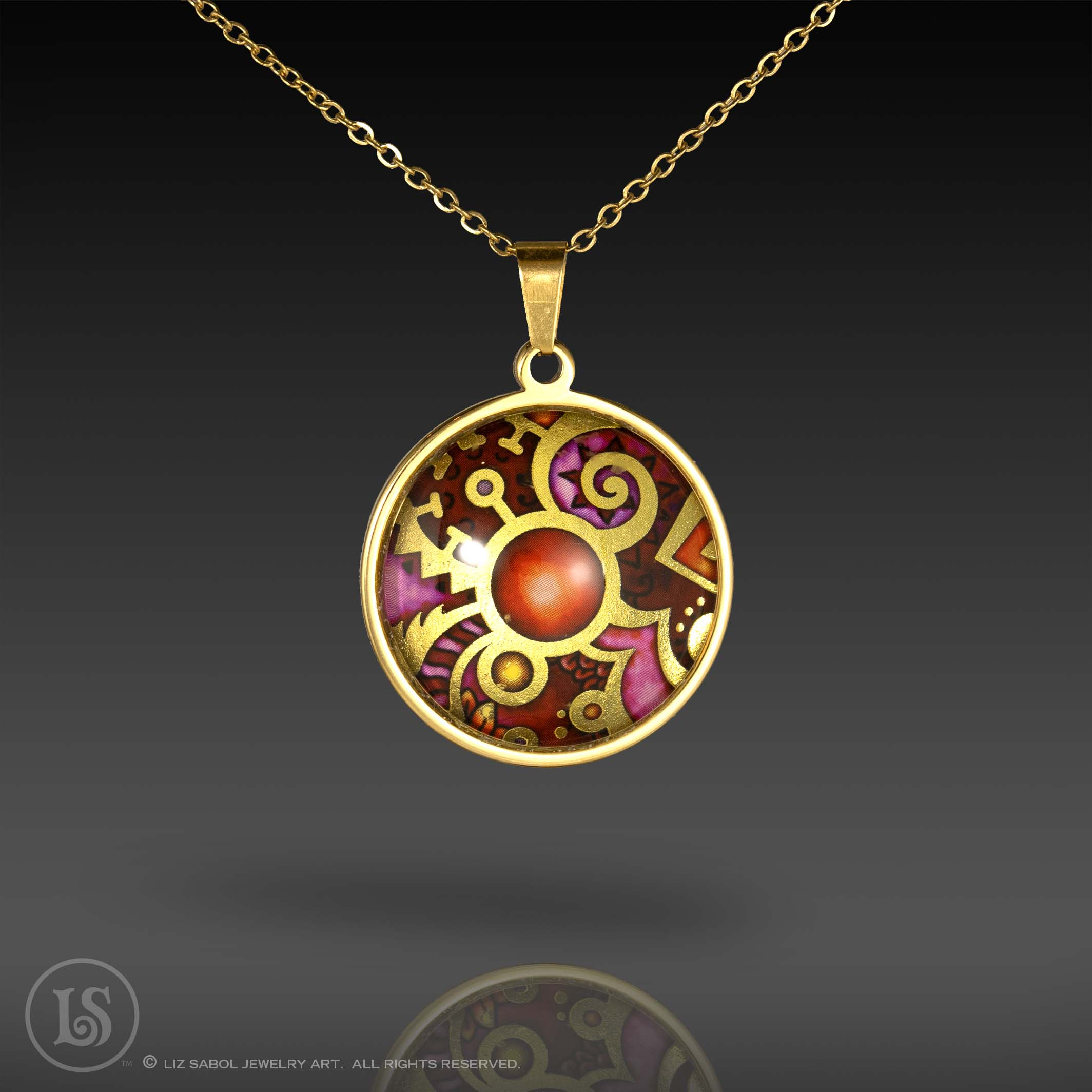 Paisley Magenta Pendant, Glass, Gold-plated Stainless Steel